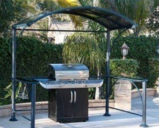 GRILL COVER HARD TOP GAZEBO WITH GLASS COUNTERS