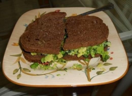 A delicious vegan sandwich on dark rye is easy to make