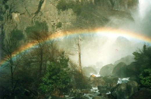 In early Summer, Bridal Veil Falls offers beautiful rainbows along it's base.