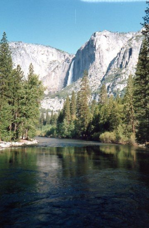 The Merced River flows right up the Yosemite Falls.