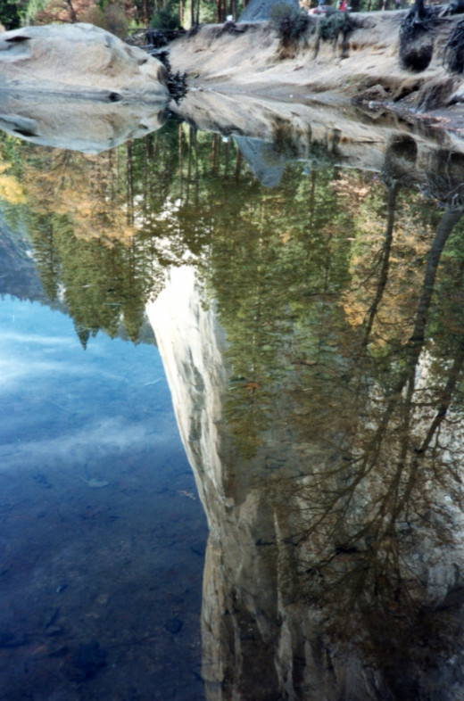This photo isn't upside down.  El Capitan is perfectly mirrored in what is left of the Merced River.