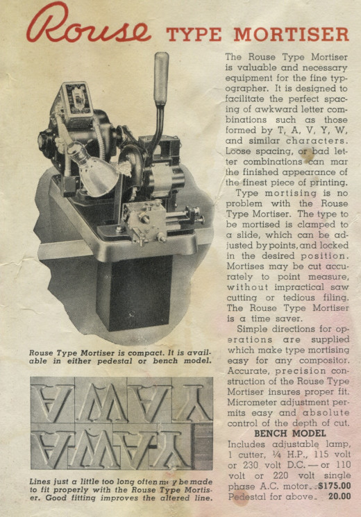 "Rouse Type Mortiser, from ""Time-Saving Equipment for Printers"". 16 September 1946"