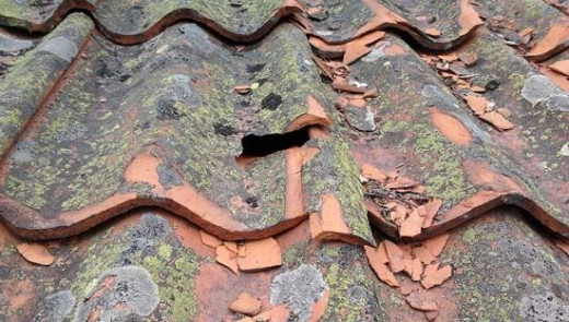 broken clay roof tiles