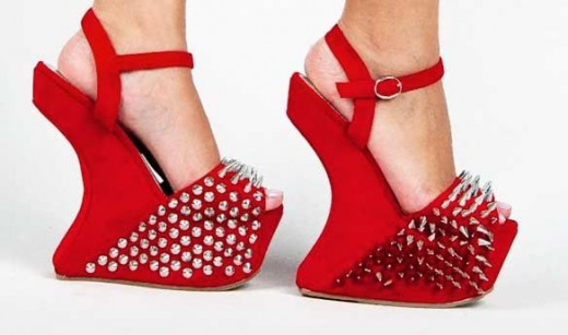 red studded platform shoes