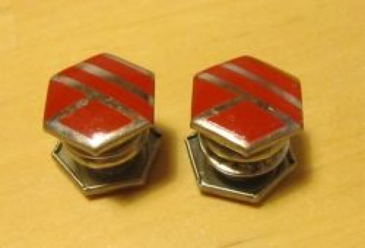 Vintage Art Deco Snap Cufflinks Red Geometric