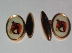 Gilt & celluloid horse cufflinks