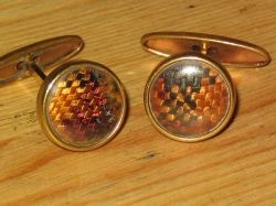 Swivel back lucite cufflinks in fabric check