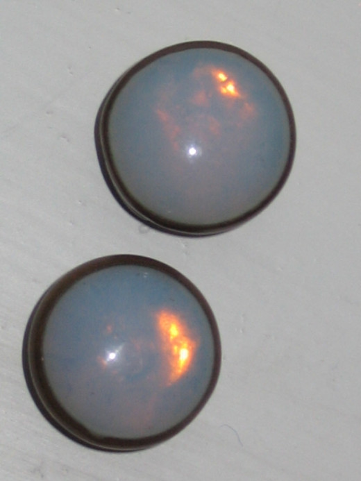 Victorian faux opal/moonstone links with crescent backs