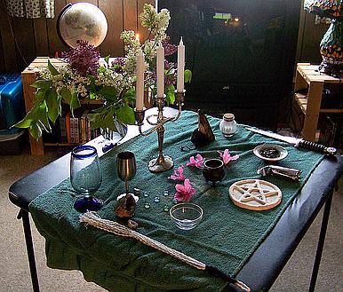 indoors Wiccan altar