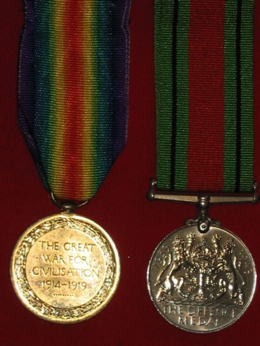WWI Victory Medal and WWII Defence Medal pair - reverse