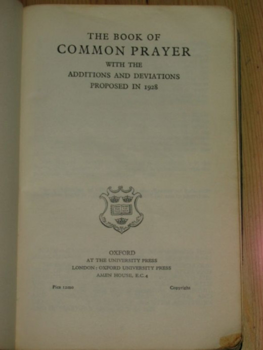 1928 BCP - title page