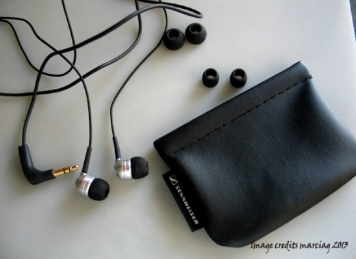 My Sennheiser CX 300 II earbuds with the cute pouch and the replacement buds
