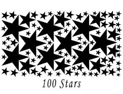 100 Black Vinyl Star Stickers for Wall Décor and Decals
