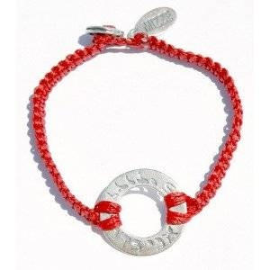 Woven I Am My Beloved's Silver Charm Red Bracelet for Men