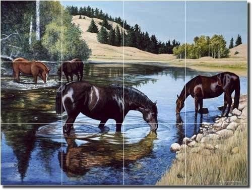 Horses at the Lake Tile Mural