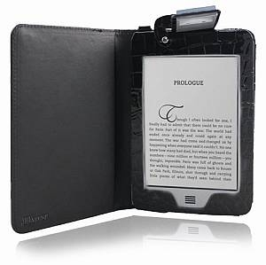 JKase Lighted Crocodile Texture Leather Case Cover for Kindle Touch Wifi