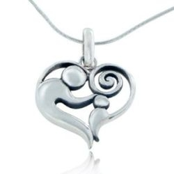 Sterling Silver Mother and Child Heart-Shaped Pendant