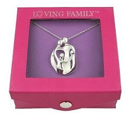 Sterling Silver Loving Family® Gifts for Mom Heart Pendant - Mother and 2 Children