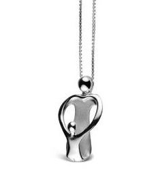Sterling Silver Loving Family® Gifts for Mom Heart Pendant - Featuring a Loving Mother and Her Child