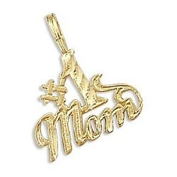 14k Yellow Gold Mom Mothers Day Charm Pendant