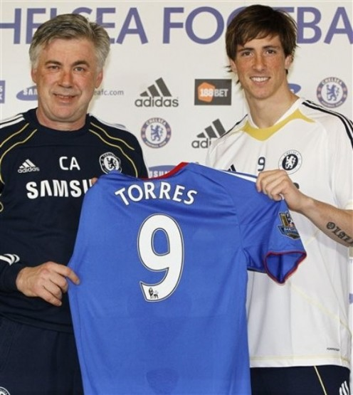 Fernando Torres & Carlo Ancelotti during his unveiling as a Chelsea player in 2011