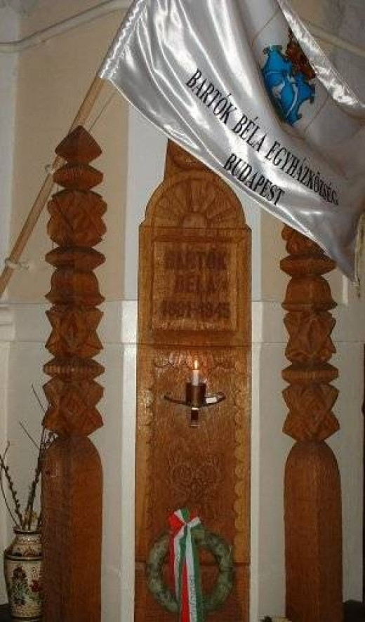 Inside of the church, focus on his name plaque