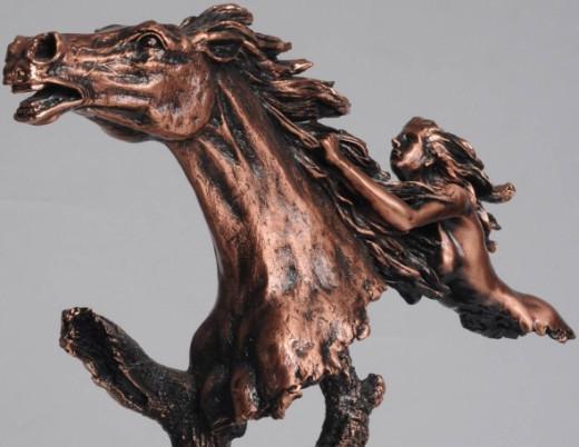 Bronze Horse & Lady Bust Sculpture