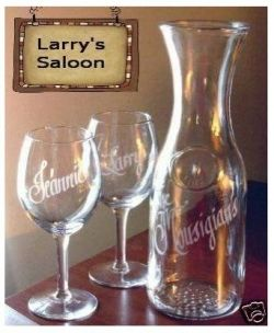 personalized decanter and wine glasses