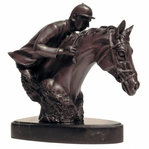 Bronze Bust Jockey Racehorse Trophey Winner Sculpture