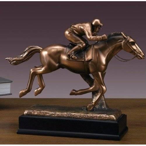 Sports Jocky on Horse Bronze Plated Statue Sculpture