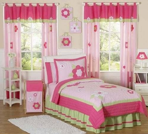 Pink and Green Flower Collection Children's Bedding