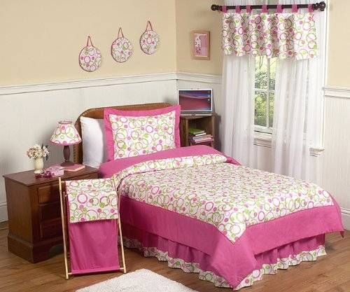 Circles Pink and Green Teen Bedding