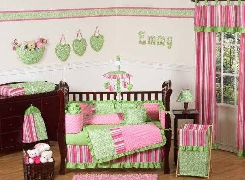 Pink and Green Olivia Girls Boutique Baby Bedding