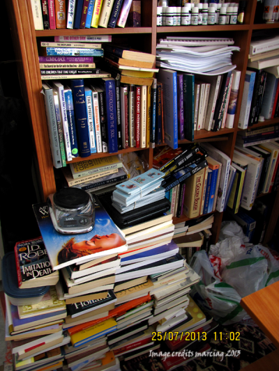 See why I started to get my Kindle reading material? My books are even on the floor!