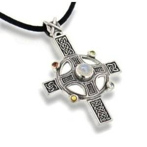 Rainbow Moonstone Divine Sun Wheel Celtic Knot Cross with Sterling Silver Pendant