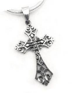 Sterling Silver Celtic FILIGREE CROSS Pendant or Charm