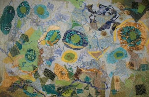"""This was a textiles """"map"""" I made a while ago - I like the idea of doing something like this for story-telling (perhaps with larger """"islands"""")."""