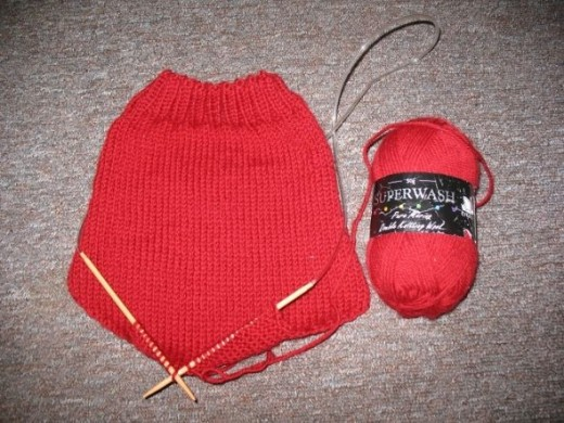 The first side knitted.