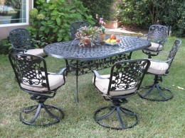Dining Set Outdoor Cast Aluminum Patio Furniture 7 Piece Dining Set