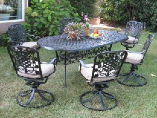Dining Set Outdoor Cast Aluminum Patio Furniture 7 Piece Dining Set