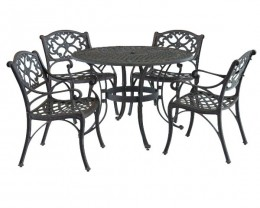 5-Pc. 48 inch Biscayne Outdoor Dining Set with 4 Arm Chairs