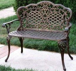 Oakland Living Mississippi Cast Aluminum Love Seat Bench