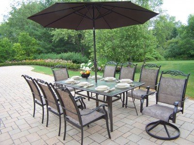 Cascade 7 Piece Dining Set With 9 Foot Tilting Umbrella And Stand