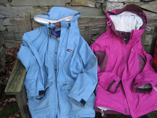 The blue Berghaus jacket on the left is about 25 years old.I still wear it. The pink one was a Christmas present 2011.