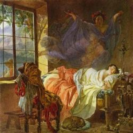 A Dream of a Girl Before a Sunrise  by Karl Briullov
