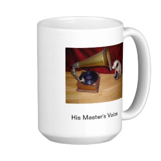 Mug with a picture of the dog Nipper listening to an old phonogram record player