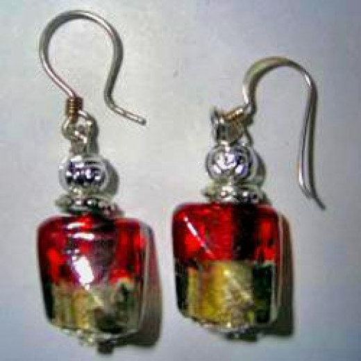 Silver and red Murano bead earrings