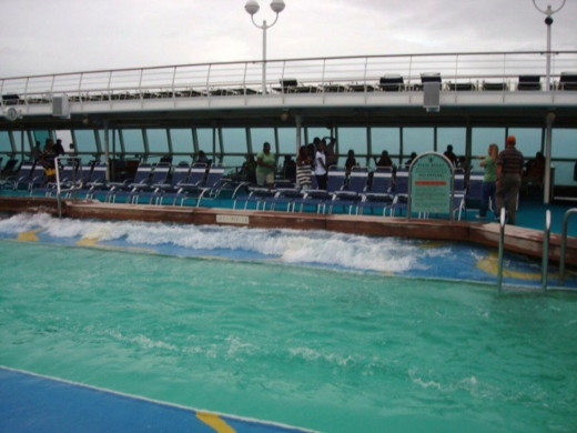 Waves in pool on a Sovereign Class ship, due to rolling of the ship in high seas.