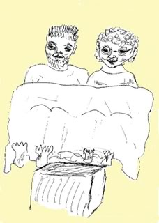 Two old codgers watching television in bed