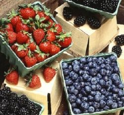Strawberries and Blueberries (cropped), public domain image